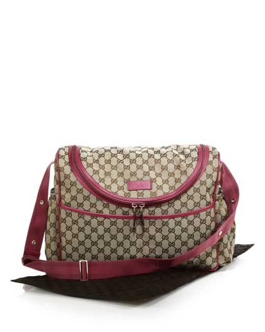 gucci gg supreme canvas diaper bag in beige beige pink lyst. Black Bedroom Furniture Sets. Home Design Ideas