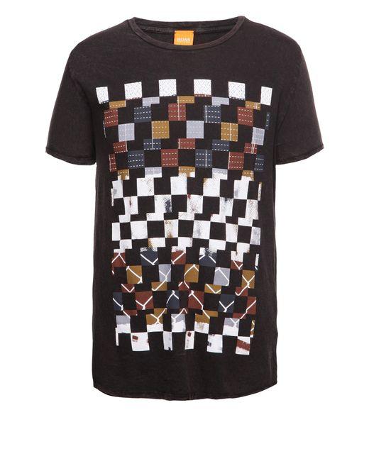BOSS Orange | Black 'tiberion' | Cotton Block Print T-shirt for Men | Lyst