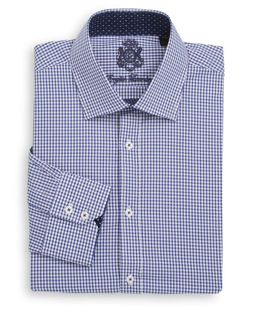 English laundry regular fit micro gingham check cotton for Men s red gingham dress shirt