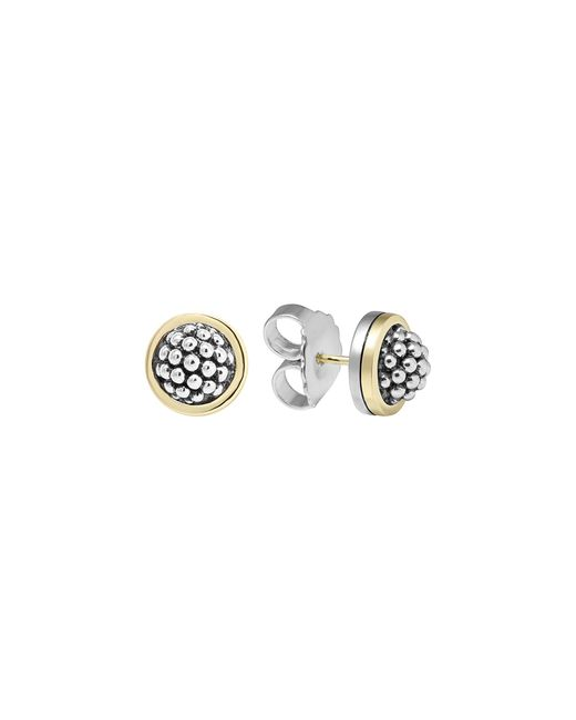 "Lagos | Metallic Sterling Silver ""caviar"" Button Earrings 