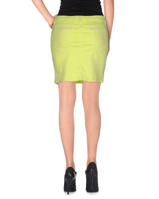 moschino denim skirt in green yellow save 11 lyst