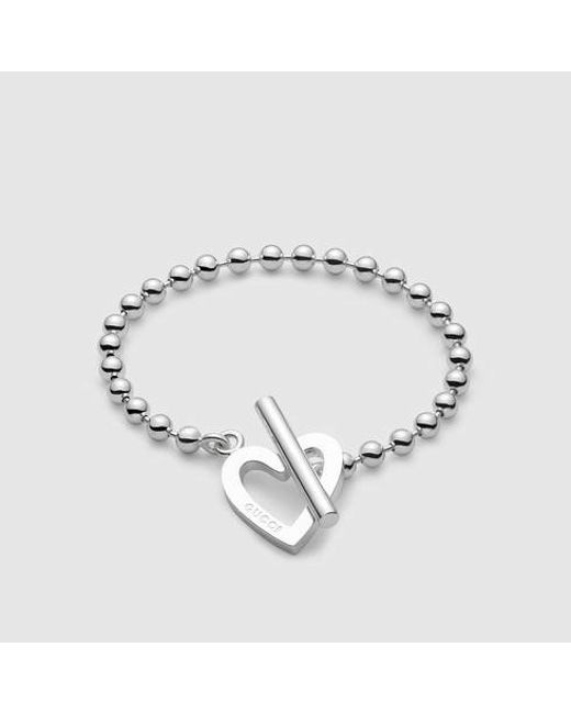 Gucci   Metallic Bracelet With Heart Motif   Lyst
