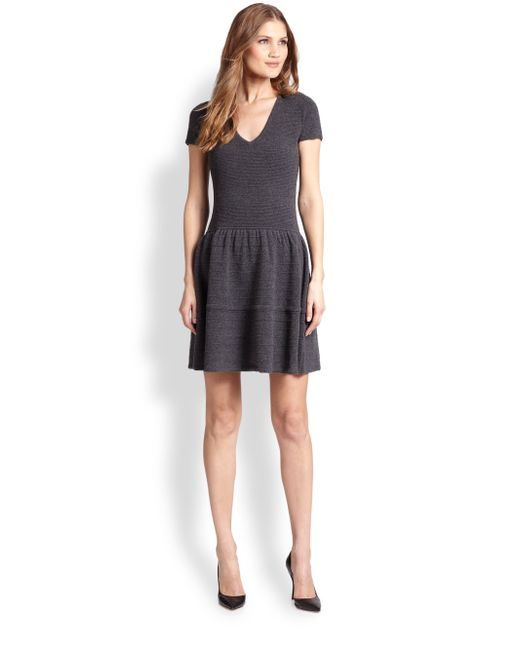 Saks Fifth Avenue | Gray Cashmere Ottoman Fit-&-flare Dress | Lyst