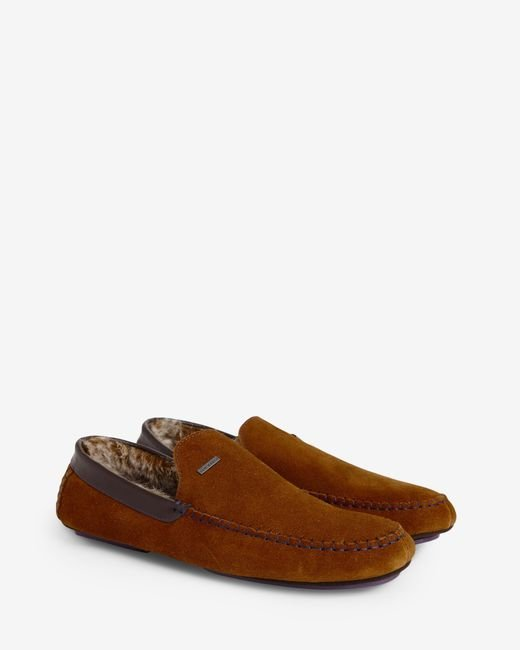 Ted Baker | Brown Faux Fur Moccasin Slippers for Men | Lyst