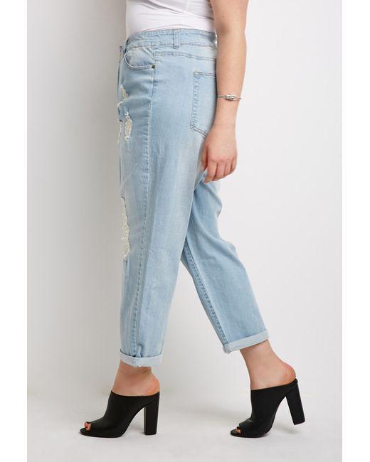 Forever 21 | Blue Plus Size Distressed Boyfriend Jeans | Lyst