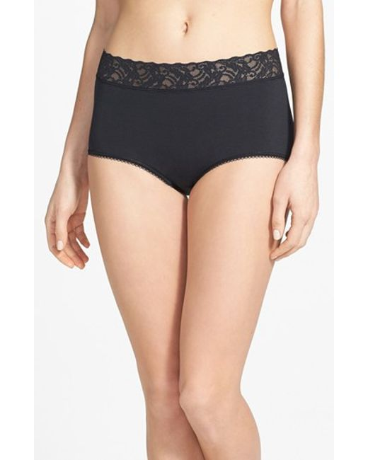 Wacoal | Black 'cotton Suede' Lace Trim Briefs | Lyst