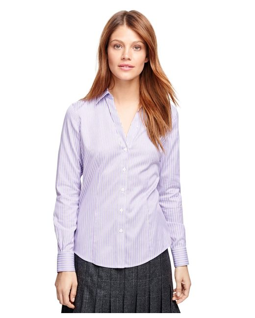 Brooks Brothers | Purple Non-iron Fitted Sleeveless Stripe Dress Shirt | Lyst