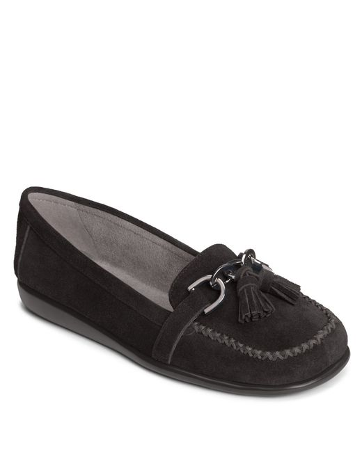 Aerosoles | Black Super Soft Suede Flats | Lyst