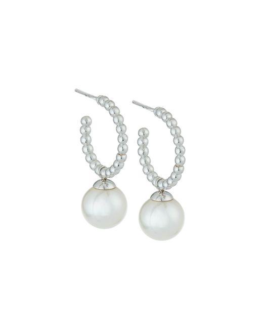 Majorica | White Pearl Hoop Drop Earrings | Lyst