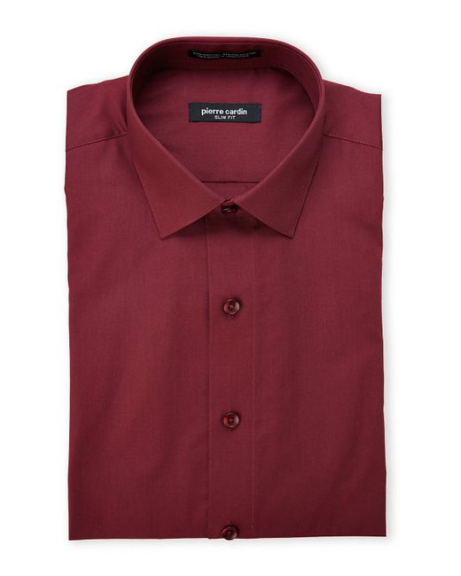 pierre cardin burgundy slim fit dress shirt in red for men