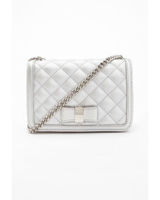 Forever 21 | Metallic Quilted Faux Leather Crossbody | Lyst