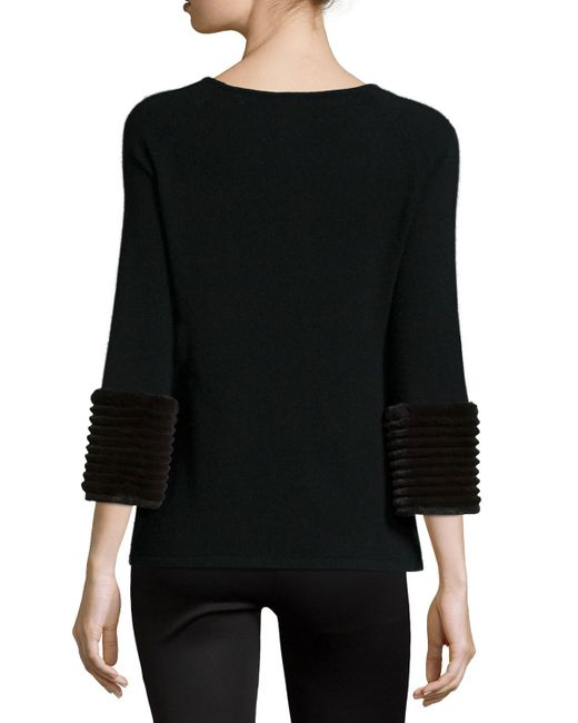 Sweater With Fur Sleeves: Neiman Marcus Cashmere 3/4-sleeve Sweater W/ Fur Cuffs In