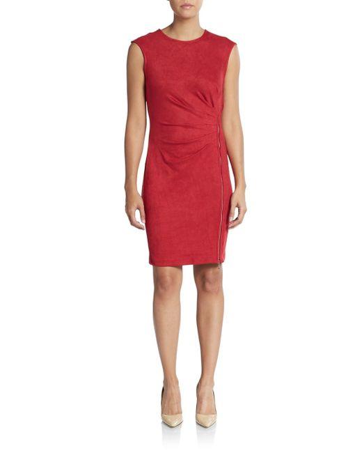 Saks Fifth Avenue Black Label   Red Sueded Pleated Zip Sheath Dress   Lyst
