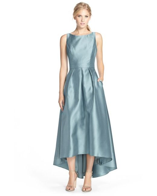 Alfred Sung | Blue High/low Hem Sateen Twill Open Back Gown | Lyst