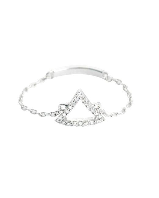 Astrid & Miyu | Metallic Tuxedo Triangle Chain Ring In Silver | Lyst