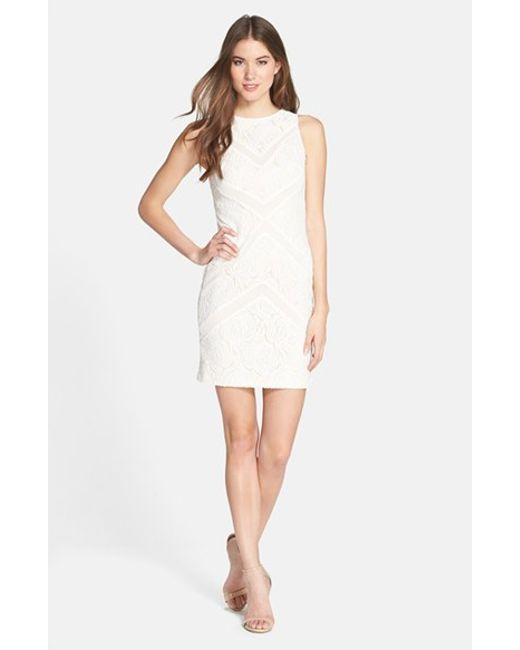 Julia Jordan | White Lace Sleeveless Sheath Dress | Lyst