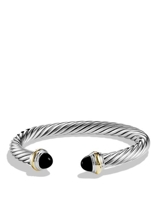 David Yurman | Metallic Cable Classics Bracelet With Black Onyx And 14k Gold, 7mm | Lyst