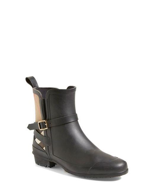 Burberry | Black Riddlestone Rubber Rainboots | Lyst