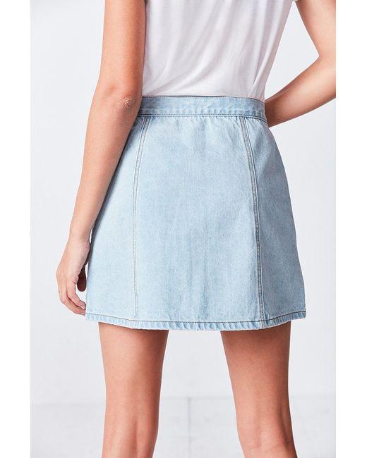 bdg denim button front skirt in blue lyst