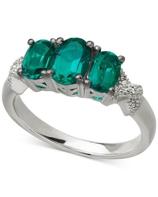 Macy's | Metallic 14K Gold Ring, Dyed Green Sapphire (22-1/2 Ct. T.W) And Diamond (1/3 Ct. T.W.) Rectangular Ring | Lyst