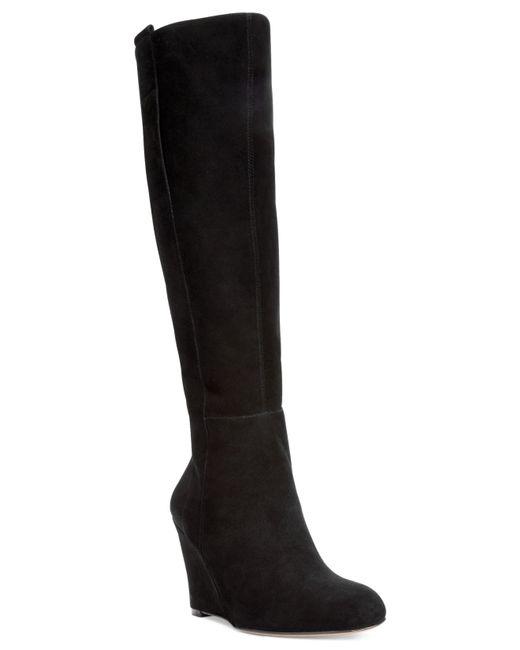nine west black oran wedge boots lyst