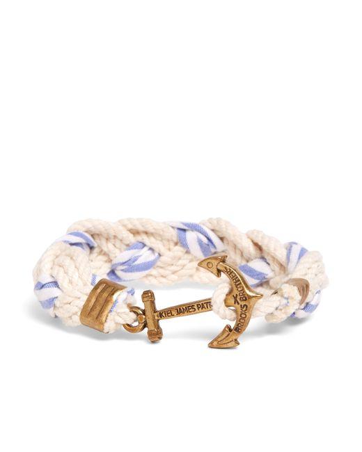Brooks Brothers | Kiel James Patrick White And Light Blue Braided Bracelet for Men | Lyst