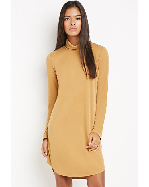 Forever 21 | Yellow Contemporary Funnel Neck Textured Dress | Lyst