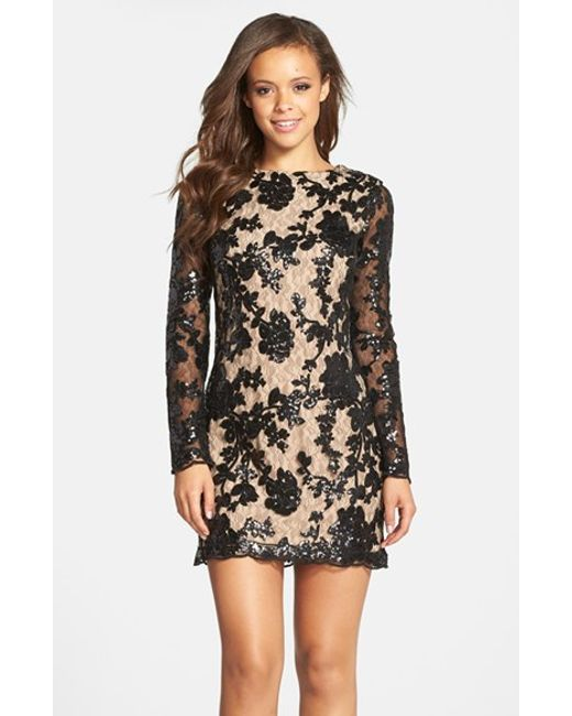 Dress the Population | Black 'grace' Sequin Lace Long Sleeve Shift Dress | Lyst