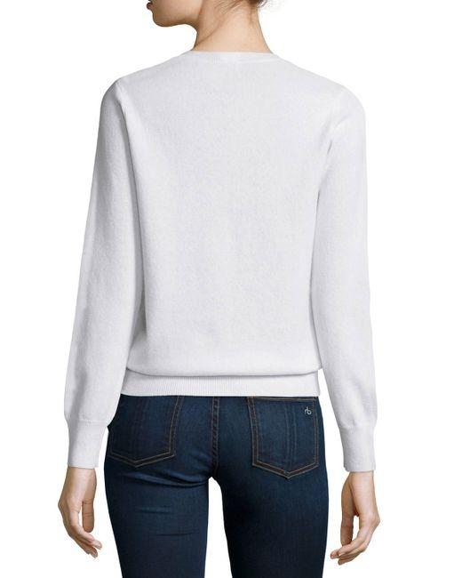 Neiman Marcus | White Long-sleeve Crewneck Cashmere Sweater | Lyst