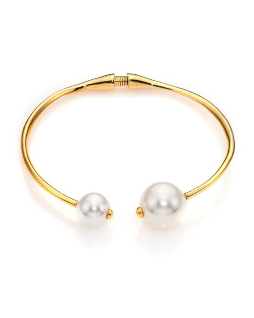 Kenneth Jay Lane | Metallic Faux Pearl Tip Collar Necklace | Lyst