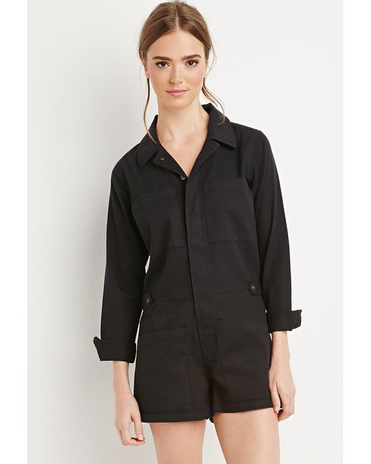 Forever 21 | Black Buttoned Utility Romper | Lyst