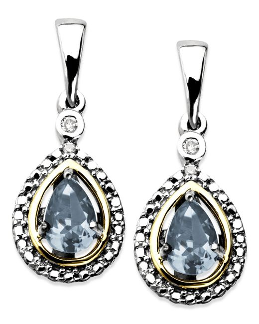 Macy's | Blue 14k Gold And Sterling Silver Earrings, Aquamarine (3/4 Ct. T.w.) And Diamond Accent Teardrop Earrings | Lyst