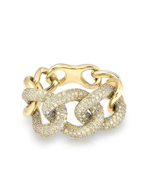 Anne Sisteron - Metallic 14kt Yellow Gold Luxe Diamond Chain Link Ring - Lyst
