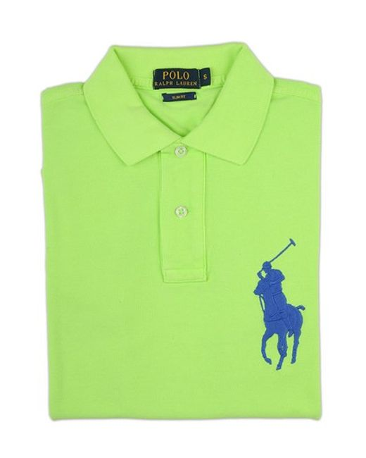 Ralph lauren blue label lime green polo shirt in green for for Mens lime green polo shirt