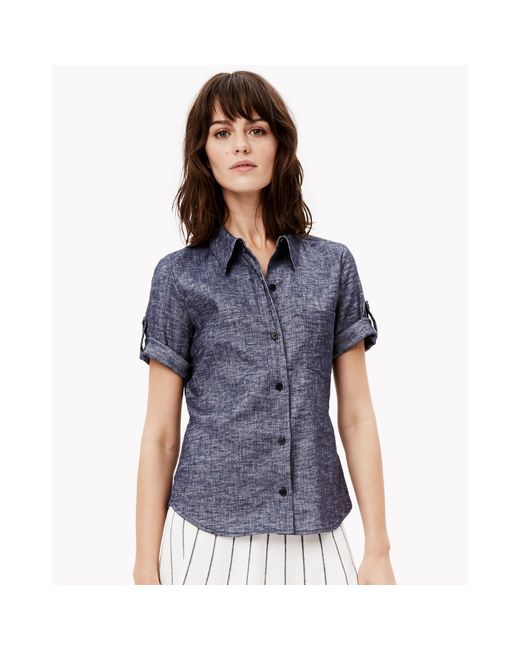 Theory linen chambray short sleeve shirt in blue deep for Short sleeve chambray shirt women