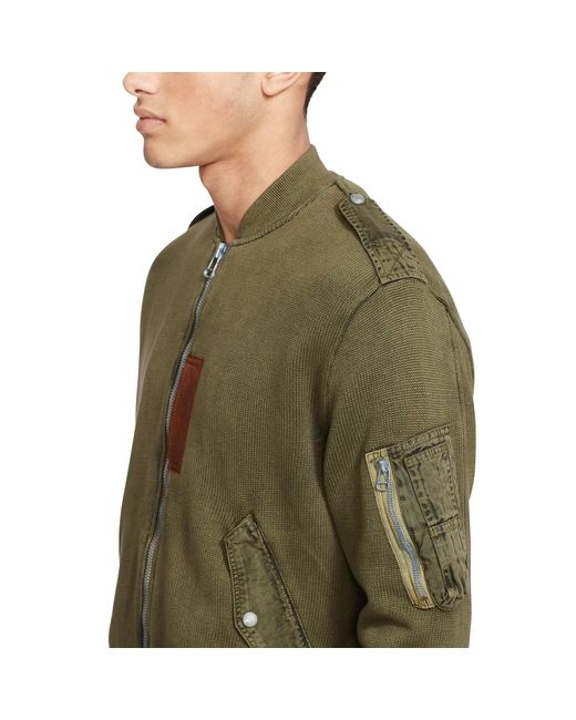 polo ralph lauren cotton sweater jacket in green for men. Black Bedroom Furniture Sets. Home Design Ideas