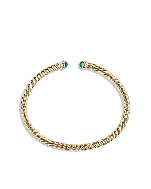 David Yurman   Green Cable Spira Bracelet With Emeralds In 18k Gold, 4mm   Lyst