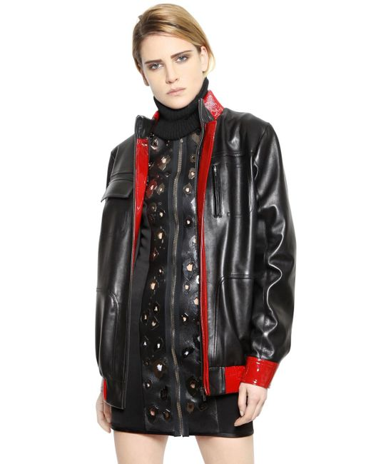 Anthony Vaccarello | Black Patent & Nappa Leather Jacket | Lyst