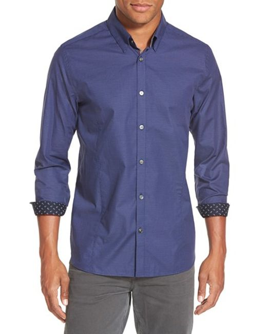 Ted Baker | Blue 'bigidea' Trim Fit Micro Dobby Sport Shirt for Men | Lyst