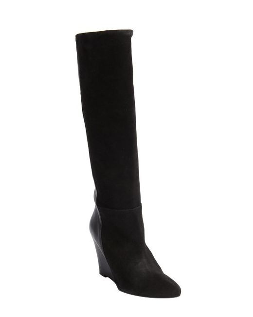 charles david black suede and leather renex wedge heel