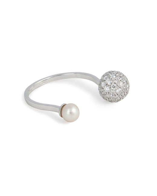 Delfina Delettrez | 18kt White Gold Sphere Ring With White Diamonds And Pearl | Lyst