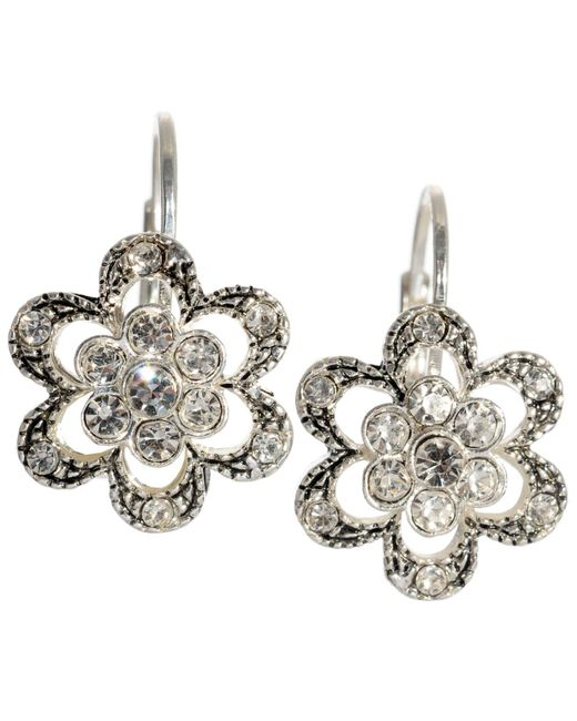 Betsey Johnson | Metallic Crystal Flower Earrings | Lyst