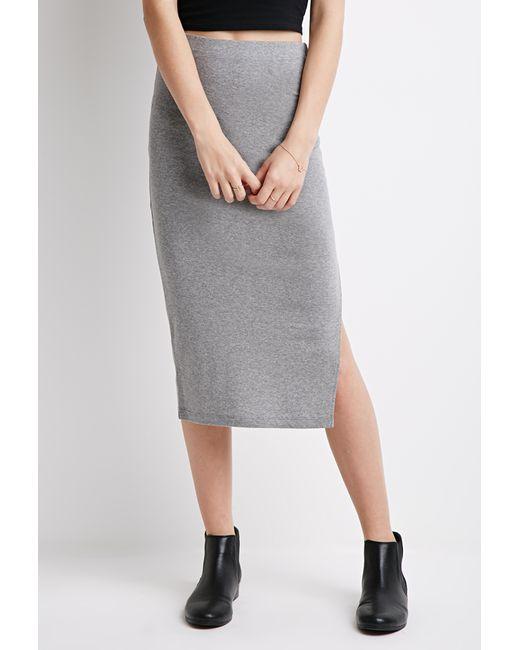 Forever 21 | Gray Slit Midi Skirt | Lyst