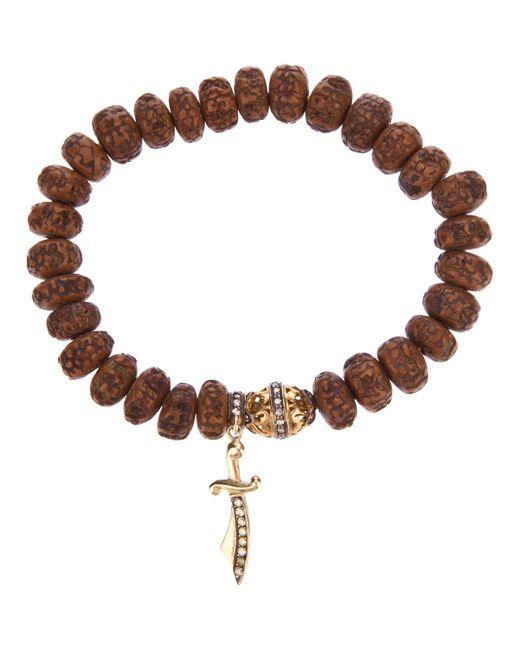 Loree Rodkin | Brown Carved Wood Beaded Diamond Bracelet | Lyst