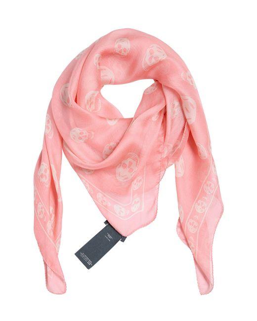 Alexander McQueen | Pink Skull Printed Silk Chiffon Scarf | Lyst