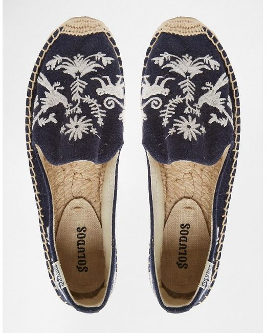 Soludos Embroidered Platform Espadrilles In White Navy