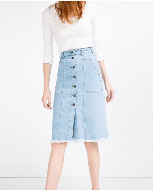 zara denim skirt with buttons in blue indigo lyst