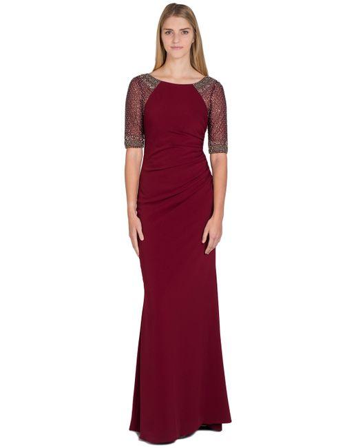Badgley Mischka   Purple Raglan Beaded Sleeve Evening Gown   Lyst
