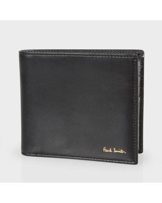 Paul Smith Men 39 S Black Leather Metallic Interior Billfold Wallet In Black For Men Lyst