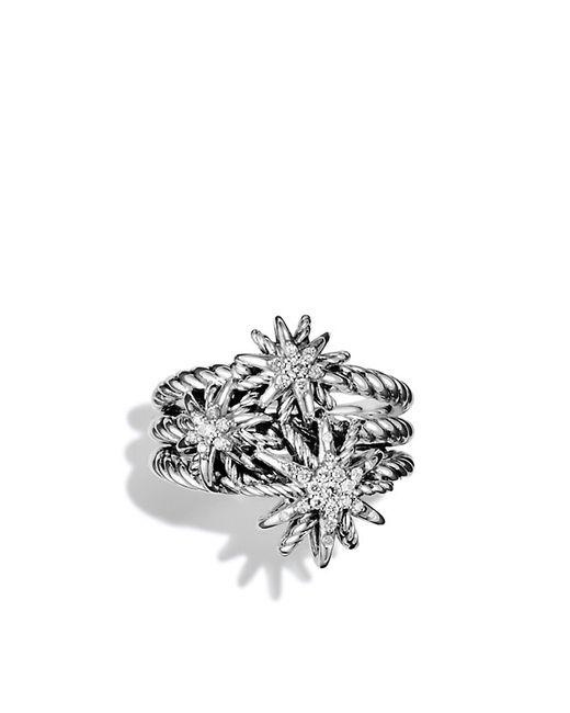 David Yurman | Metallic Diamond Sterling Silver Starburst Ring | Lyst